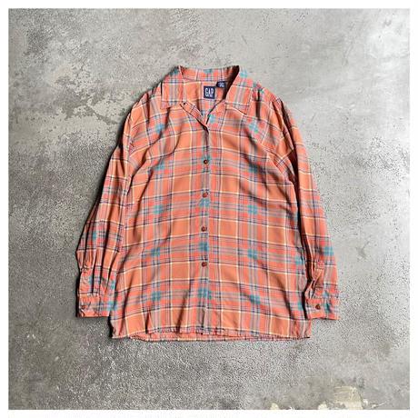 """1990s """"GAP""""レーヨンプレイドオープンカラーシャツ"""