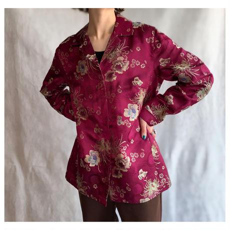 【レディース】1980s  花柄刺繍シャツジャケット