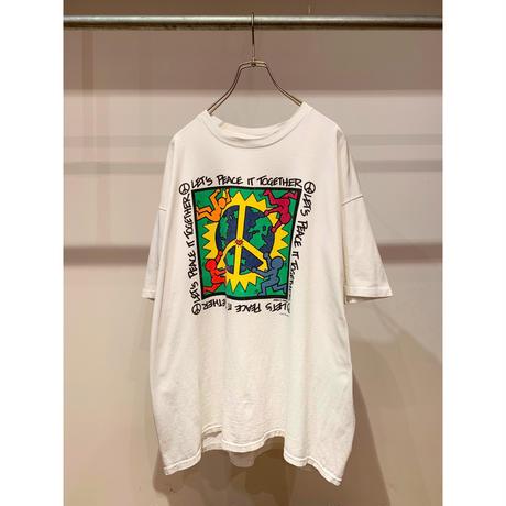 """90年代 """"LET'S PEACE GET TOGETHER""""プリントTシャツ"""