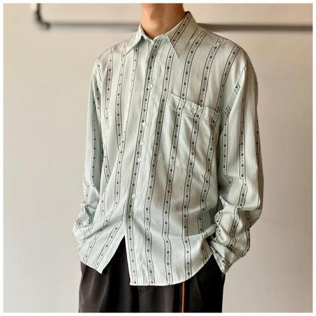 1990s レーヨンブレンドストライプデザインシャツ