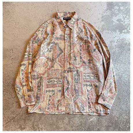 1990s コットン総柄シャツ