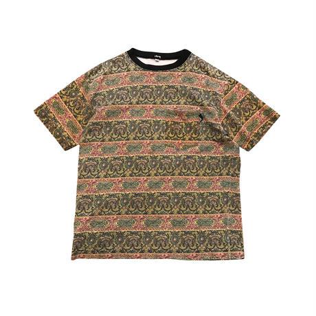 80s OLD STUSSY pocket t-shirt 総柄 表記M