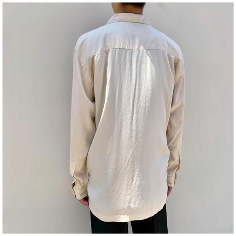 "1990s ""PERRY ELLIS"" シルクオープンカラードレスシャツ"