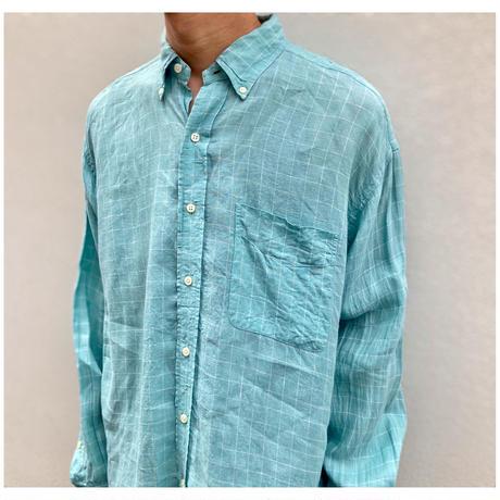 "1990s ""Ralph Lauren BLAKE"" リネンプレイドBDシャツ"