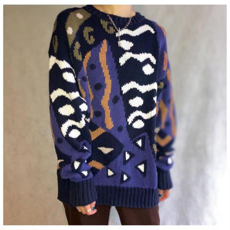 1980s コットンハンドニットセーター