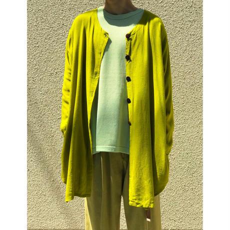 90年代 リネンブレンドノーカラーシャツ