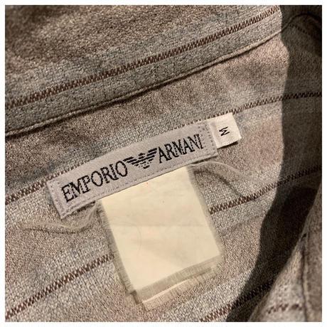 """1990s """"EMPORIO ARMANI""""コットンブレンドストライプシャツ イタリア製"""