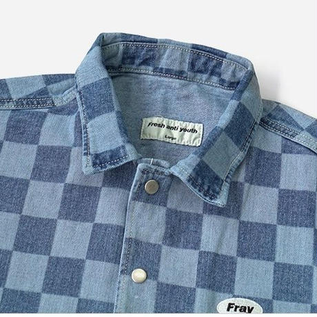 【Fray】Checker denim jacket
