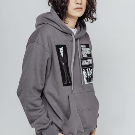 【IMXHB】PLASTIC FACE PATCHED HOODIE - DARK GREY