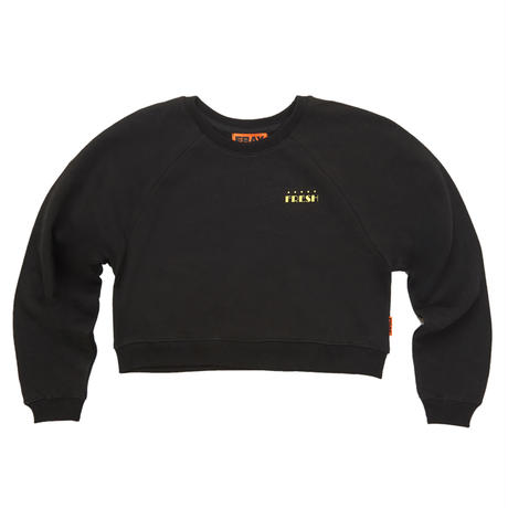 【Fray】logo crop CREWNECK SWEATER BLACK