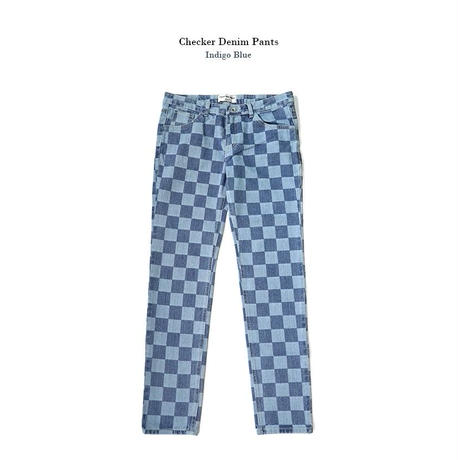 【Fray】Checker denim pants