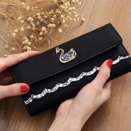 4Color 海外 ブランド 人気 長財布 レディース 白鳥 キラキラ  可愛い 使いやすい キレイ おすすめ プレゼント 安い プチプラ コーデ 可愛い財布 シンプルな財布