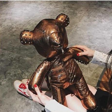 4Color 海外ブランド 人気  オシャレ レザー クマ 可愛い パンク レディース ストリート 安全ピン ロック スタッズ バックパック ロリータ ゴスロリ メンヘラ 姫 B2091