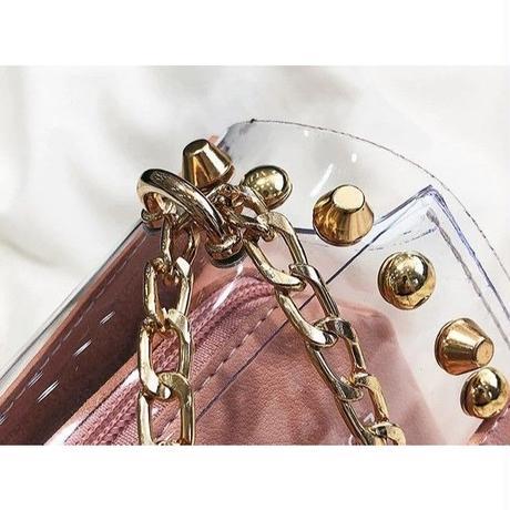 5 Color 海外ブランド スタッズ クリアバック 可愛い 夏 きらめき ゴールドチェーン ショルダーバッグ レディース 海外輸入品