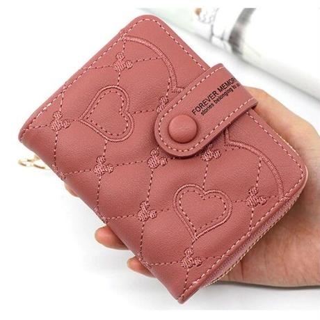 海外ブランド 人気 財布 6Color  レディース  ミッキー 可愛い 刺繍 安い キレイ レザー カジュアル モード コーデ ストリート パンク ハート 二つ折り   W305