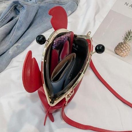 Color 海外ブランド 人気  オシャレ 可愛い レディース がま口 カニ ショルダーバッグ カジュアル 映え 通学 旅行 レザー バック 学生 水の生き物 B87