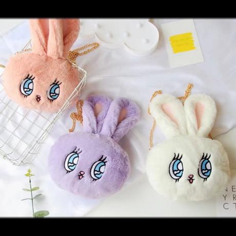 4Color 海外 ブランド 人気 ショルダーバック 女の子 きっず ウサギ 可愛い チェーン お洒落 もこもこ ぬいぐるみ キャラクター ウサギ 孫 子供 ギフト プレゼント