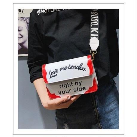 4 Color 海外ブランド ワイドストラップ ロゴ ショルダーバック デカ文字 クロスボディバック カジュアル ロック ミニバック レディース 海外輸入品