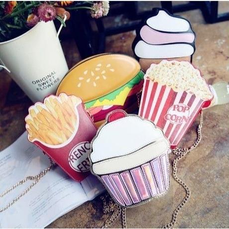 6Collar 海外ブランド インスタ映え 3D ミニ ショルダーバック ポーチ カップケーキ アイスクリーム コーラ 携帯ケース入れ チェーン レディース 海外輸入品