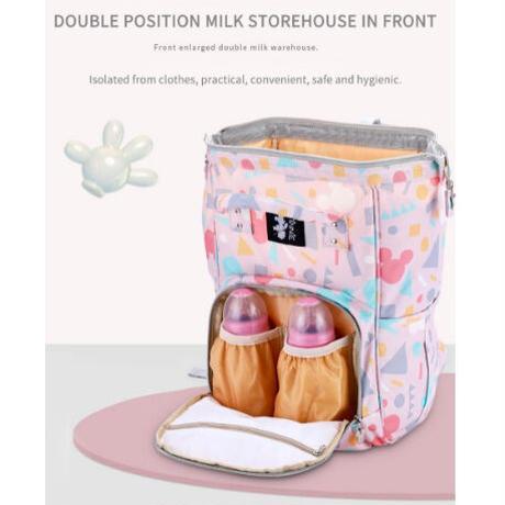 2Color 海外ブランド 人気  オシャレ 可愛い レディース マザーズバッグ リュック ミッキー 水色 ピンク 大容量 旅行 ベビーケアバッグ バッグ ディズニー B1904