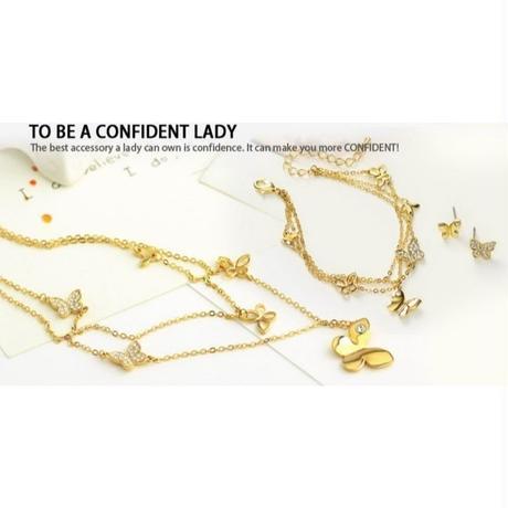 海外 ブランド 人気 ネックレス イヤリング ブレスレット 3点 セット  可愛い 蝶 ゴールド ラインストーン ラグジュアリー キレイ きれいめコーデ フェミニンコーデ シンプル プレゼント