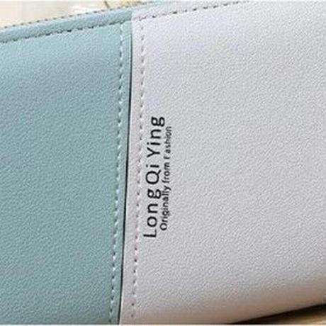 海外ブランド 人気 大容量 長財布 5Color レディース コントラスト 可愛い ラウンドファスナー 安い 上品 キレイ レザー カジュアル フェミニン ストリート ファスナー リボン W35
