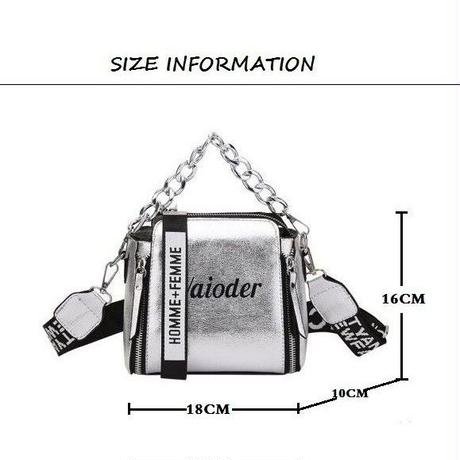4Color インスタ映え  ロゴ 学生 チェーン バック クロスボディバッグ ショルダーバッグ ハンドバック
