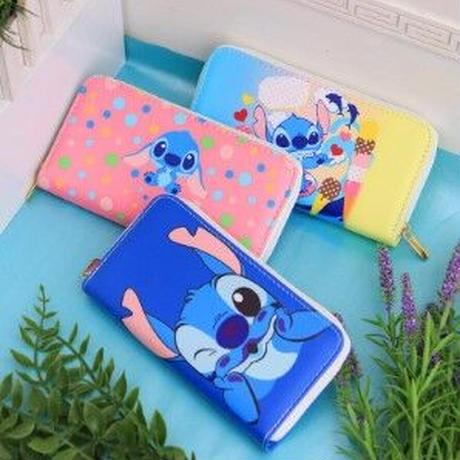 海外ブランド 人気 スティッチ 財布 3Color  レディース 可愛い 安い 上品 キレイ レザー カジュアル ストリート パンク ディズニー ラウンドファスナー W309