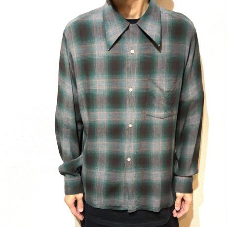 Vintage Rayon Shirt シャドーチェック オンブレチエック レーヨン 素材