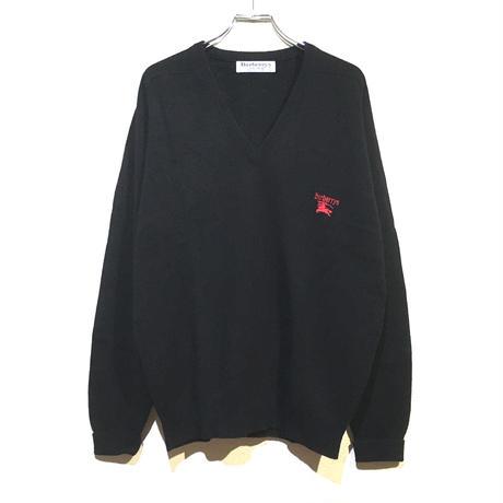 バーバリー Vネック セーター 100% ピュア ラムウール ビンテージ スコットランド製 Burberrys