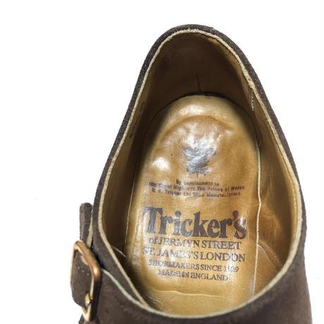 Trickier's トリッカーズ ダブル モンク スウェード ブラウン ビンテージ シューズ イングランド製