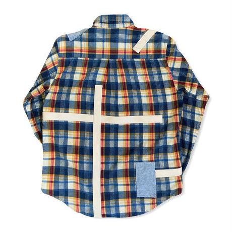 remake patchwork  shirt (blue)