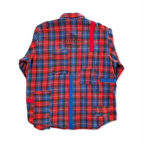 remake patchwork shirt (red&blue)