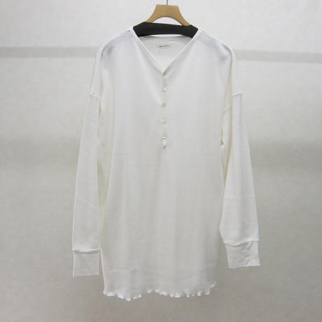 YEAH RIGHT!! WAFFLE HENLEY NECK Tシャツ(白)