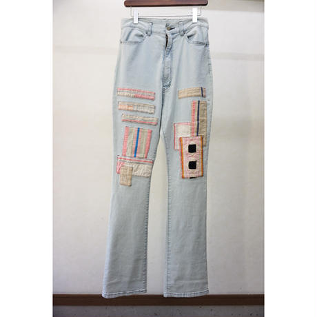 YEAH RIGHT!! TRIBAL CLOTH PATCH DENIM SARROUEL PANTS