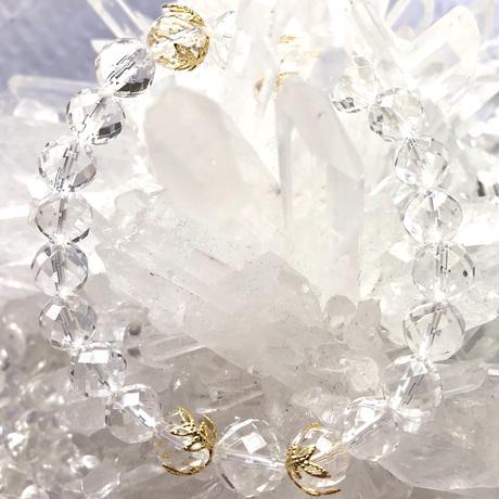 【浄化・対人関係】水晶AAAランク8ミリ玉×16kGP花座ブレスレット〜南十字星シリーズ 〜