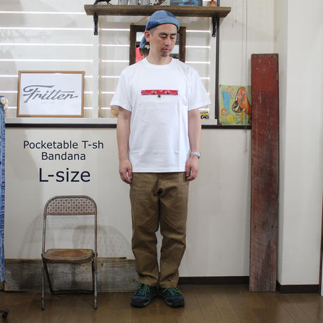 Pocketable T-sh Bandana White/RedーM/L/XLサイズ