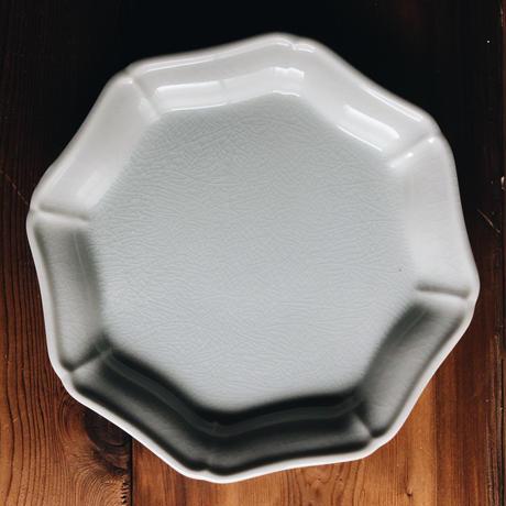 八角モッコ皿 200mm / 貫入白磁  (KATAKUTANI)