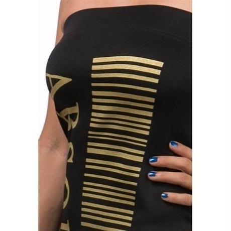 【LuxuryRose】ゴールドプリントがCOOL! ベアミニワンピース  ダンス 衣装 ロングスカート
