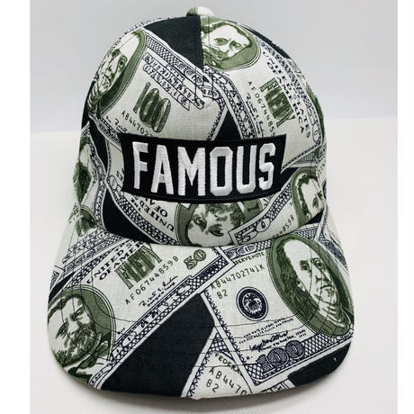 【World wide Famous】FAMOUSロゴ ドル柄 ローキャップ