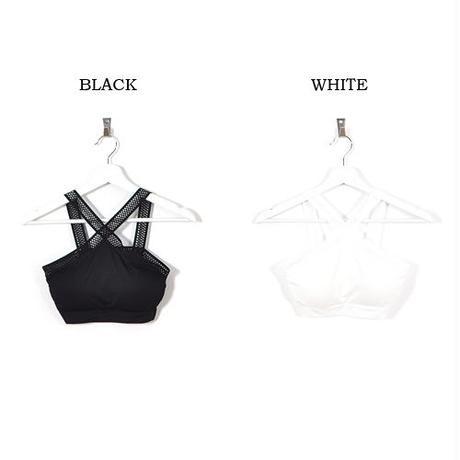 【LuxuryRose】白・黒2色展開!クロスメッシュブラトップ