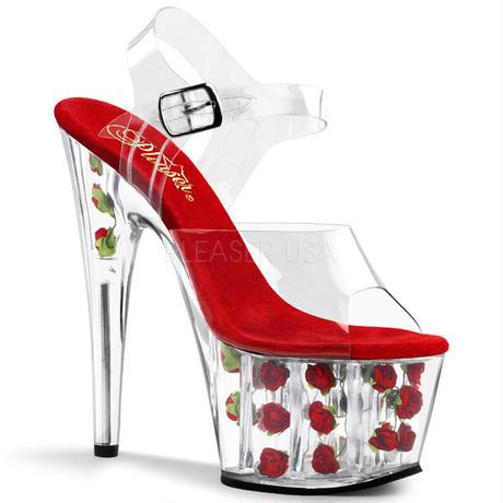 【お取り寄せ】【Pleaser】ADORE-708FL  Clr/Red Flowers人気のお花入り♪プリーザ 厚底 ヒール サンダル キャバ