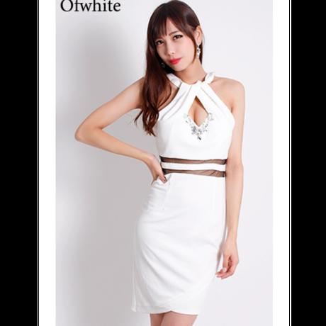 【 LuxuryRose】ウエストボーダーシースルー  ビジューカットアメスリタイトミニドレス