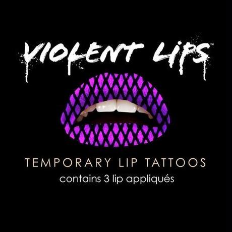 大人気!NEW【VIOLENTLIPS】リップ タトゥーシール  Sexyネット柄(パープル)
