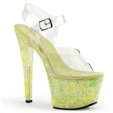 【お取り寄せ】【Pleaser】CRYSTALIZE-308TL   Clr/Lime Crystal, SWEETな衣装に!プリーザ 厚底 ヒール サンダル キャバ
