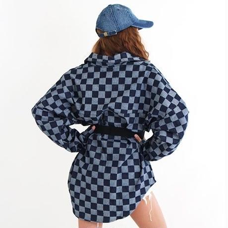 【LuxuryRose】チェッカーフラッグ柄 ビッグ デニムシャツ