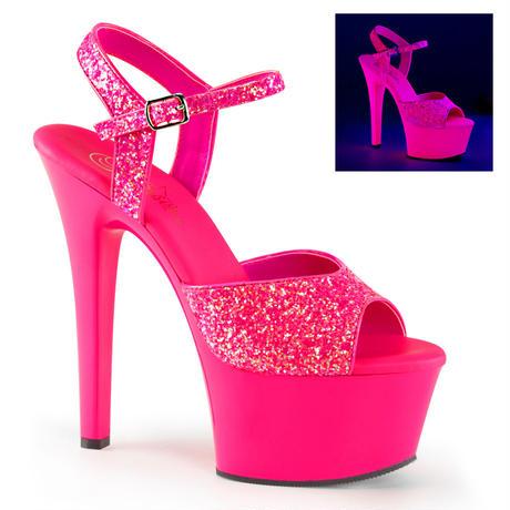 【お取り寄せ】【Pleaser】ASPIRE-609G  Neon H. Pink Glitter/H. Pink, 床との接着面積広め!プリーザ 厚底 ヒール サンダル キャバ