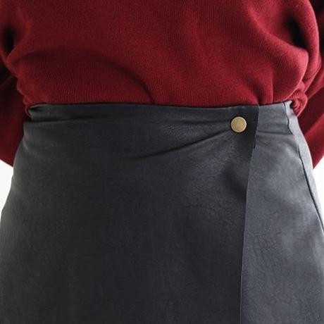 【LuxuryRose】巻きスカート風 レザー ミニスカート
