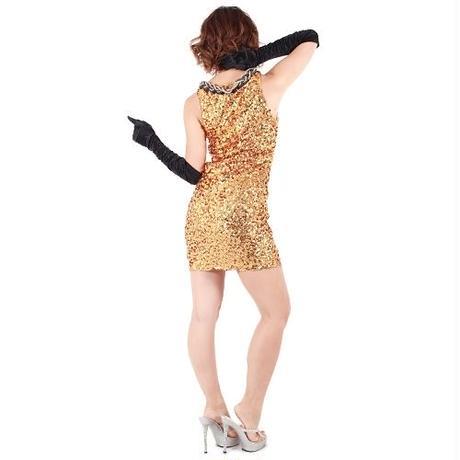 【LuxuryRose】スパンコールチェーンネックレス付きワンピース