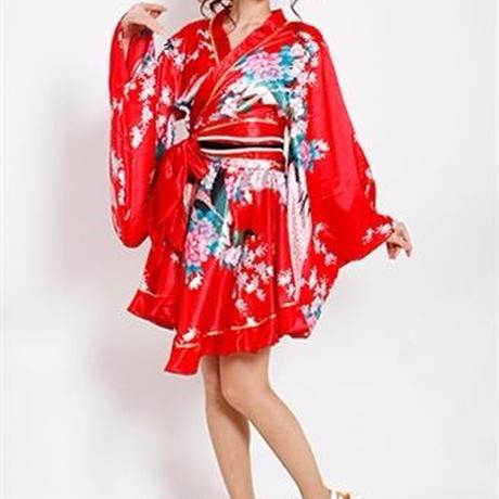 【LuxuryRose】サテン和柄ミニ花魁着物ドレス☆